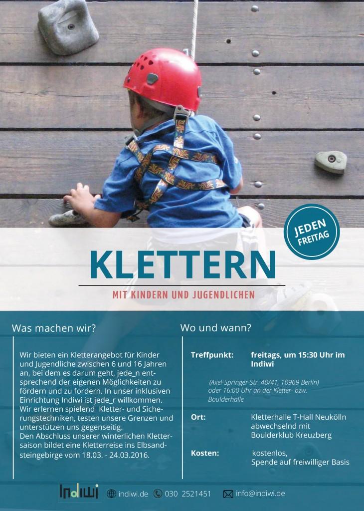 Flyer Klettern für Kinder und Jugendliche. Indiwi Berlin.